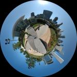 Little planet made from stitched pan of Millennium Park in Chicago
